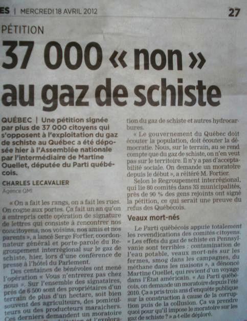 """""""Le Journal de Montreal"""": Petiție – 37000 de semnături împotriva exploatării gazului de șist în Quebec (Canada)"""