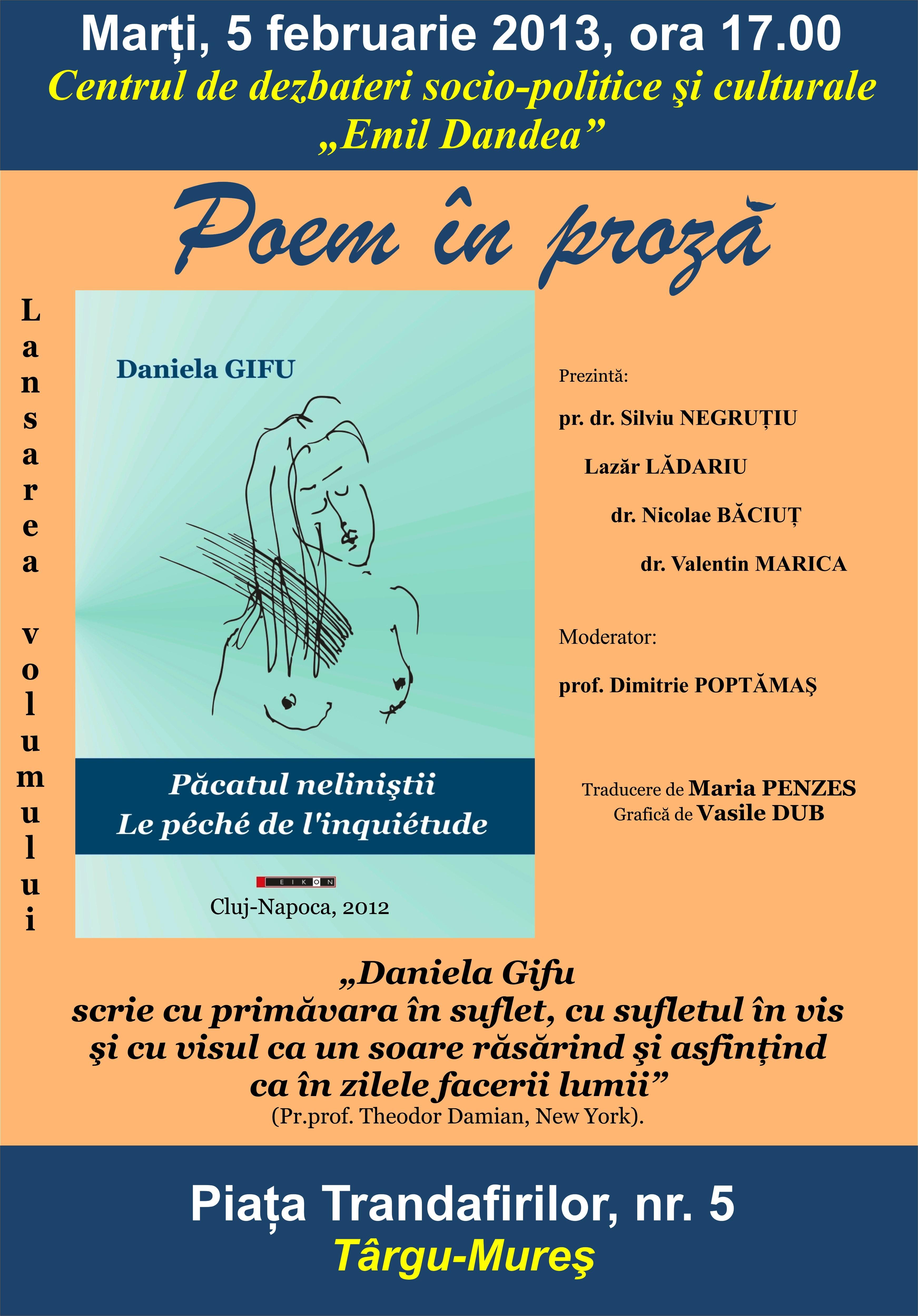 Lansare de carte – Editura EIKON / Păcatul neliniştii – Daniela Gifu