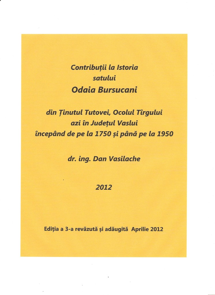 Dan Vasilache: Contribuţii la istoria satului Odaia Bursucani