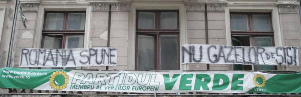 Protest al Partidului Verde faţă de acordarea de avize de mediu pentru explorarea gazelor de şist în judeţul Vaslui