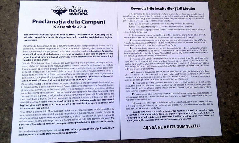 Proclamaţia de la Câmpeni – 19 octombrie 2013 (integrală) – PROCLAMAŢIE  ignorată de MEDIA CENTRALĂ ANTINAŢIONALĂ şi de GUVERNUL MAFIOT(USL-ist) PONTA – ANTONESCU